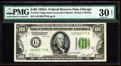 """2151-G 1928A $100 Chicago """"woods-Mellon"""" Signatures Gold Clause Frn Pmg Vf 30Epq"""