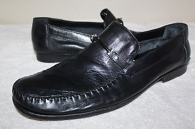 Mens Bruno Magli Teodoro Black Leather Buckle Loafters Dress Shoes 13 M