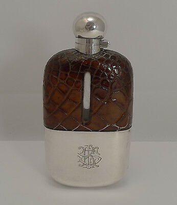 Large Antique Alligator / Crocodile & Silver Plated Hip Flask c.1900