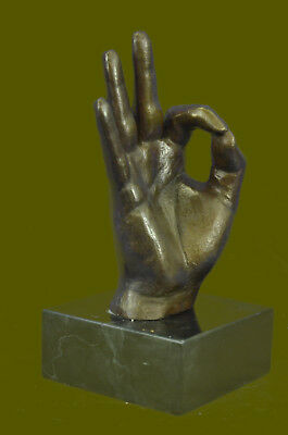 European Finery Hand Made OK Hand Sign 100% Genuine Bronze Sculpture Figure SALE