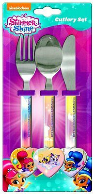 Girls - Shimmer And Shine Cutlery Set Stainless Steel Knife Fork Spoon