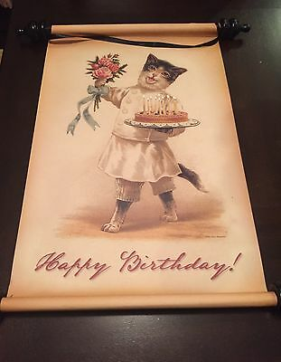 Victorian Trading Co Happy Birthday Cat Banner Scroll