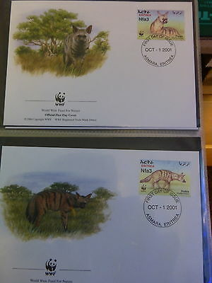 Wwf Official Wwf First Day Covers ~~Eritrea  *aardwolf*   2001