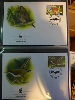 WWF OFFICIAL WWF FIRST DAY COVERS ~~St. LUCIA  *St. LUCIA BIRDS*   2001
