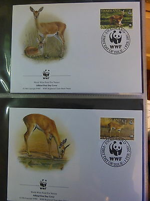 Wwf Official Wwf First Day Covers ~~Swaziland  *klipspringer & Oribi*   2001
