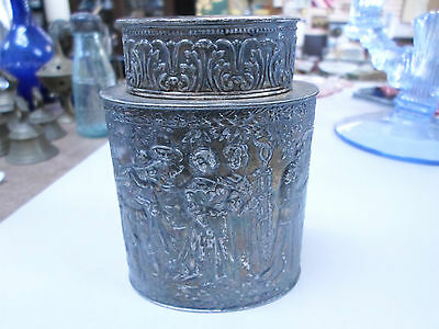 Antique Derby S.P. Co Internationals Silverplate Canister Box Repousse 174 gram