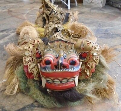 Antique Bali-Indonesia Dragon Parade Mask with Hair