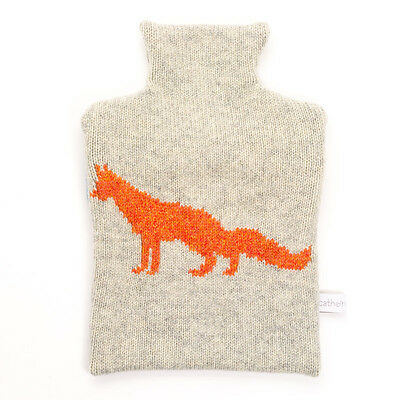 Designer Orange Fox 100% Pure Lambswool Knitted Cover 0.8L Hot Water Bottle