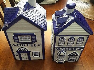 Vintage Ckro Coffee And Sugar House Ceramic Jars Collection Blue And White