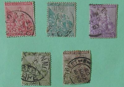 Cape of Good Hope  Postage Stamps 5 low value used