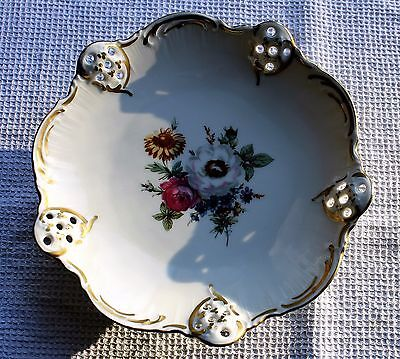 """Vintage Rosenthal """"Moliere"""" Footed Bon Bon Dish - lovely flower pattern"""