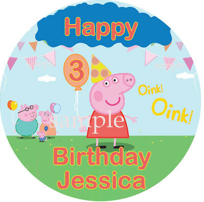 Peppa PIG Round Edible Photo CAKE Topper ICING Image FREE SHIPPING