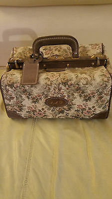 Vintage French Luggage Tapestry Doctor's Satchel Carry On Travel Bag 14X8X8