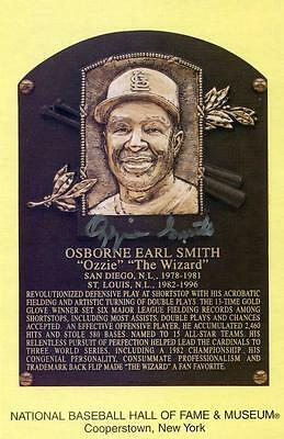Ozzie Smith Signed Hof Plaque Card Mlb.com Hologram Cooperstown Autograph