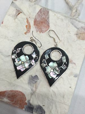 MEXICAN EARRINGS Abalone Shell Inlay Floral Sterling Silver Plated Handmade