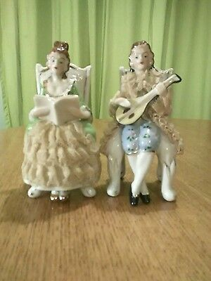 Charming Vintage Porcelain Seated Musicians Pair With Lace Detail