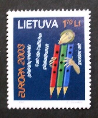 Europa, Poster art stamp, 2003, face and pencils, Lithuania, SG ref: 808, MNH