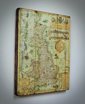 Shakespeare's Britain map on the wood, special, unique idea, excellent quality