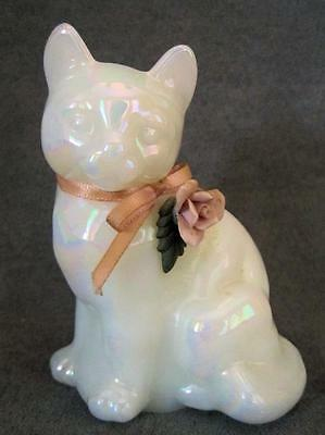 Vintage 70s' Iridescent FENTON Kitty CAT with Pink Applied ROSE & Ribbon Label
