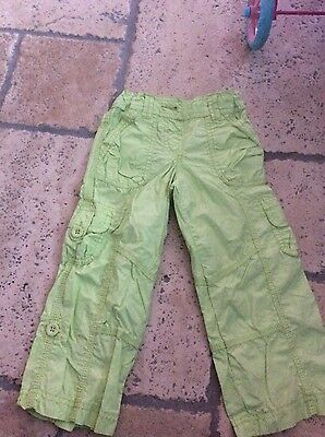 Girls summer trousers aged 2-3 years, green pair & white pair