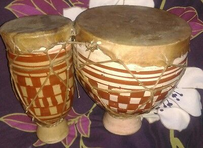 Vintage Moroccan African Pottery Double Bongo Drum Hide/Skin top/decoration
