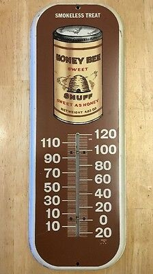 Vintage Antique Honey Bee Snuff Metal Thermometer Tin Sign Tobacco Advertising