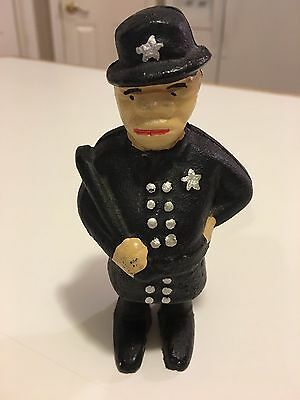 """Antique Vintage Style Cast Iron Police Officer-Penny Bank/ 5"""" tall"""