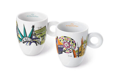 """ILLY COLLECTION 2017 Emilio Pucci """"Cities of the World"""" 2 Mug Cups signed"""