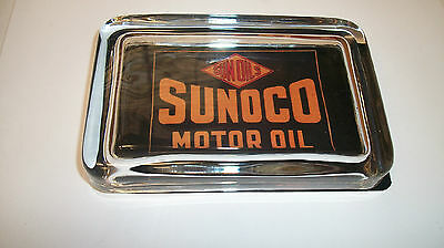 Sunoco DX Sun Motor Oil Gas Station Car Advertising Logo Sign GLASS PAPERWEIGHT
