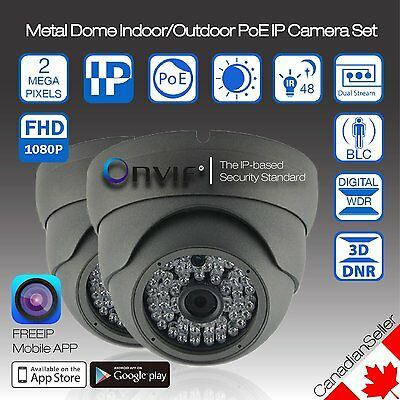 (2 Pack) Onvif IP Camera 2MP 1080P SONY CMOS Chip Metal Dome PoE Night Vision
