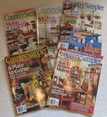 2013 Country Sampler Magazine Lot of 5 Issues - Home Tour Edition
