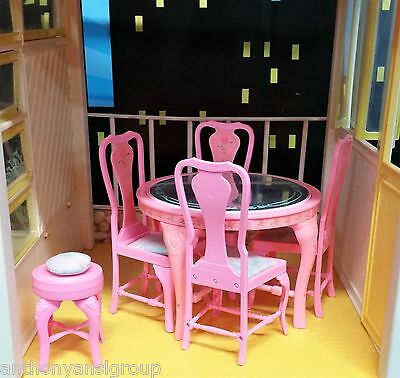 Vintage Barbie Sweet Roses Dining Set Diorama Table Chairs Stool Near Mint