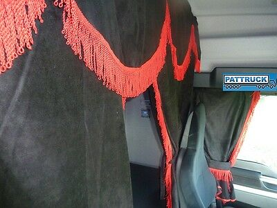 TRUCK CURTAINS SET BLACK WITH RED STRINGS Man, Scania, Volvo,Daf,Iveco, Mercedes