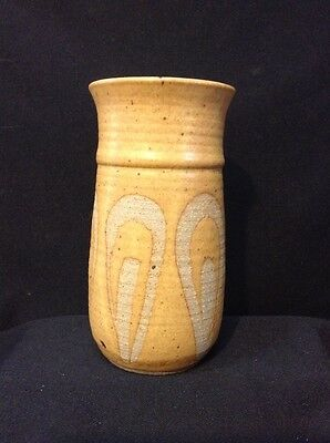 Hand Thrown Pottery Vase Signed HP Tan