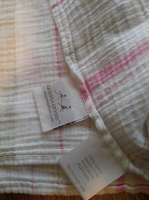 Aden And Anais Swaddle Blanket With Brown Pink Stripes Muslin Soft Cotton