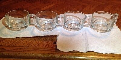 Set Of 4 Vintage Clear Glass Square Handle Coffee - Coffee Cups - Made In Italy