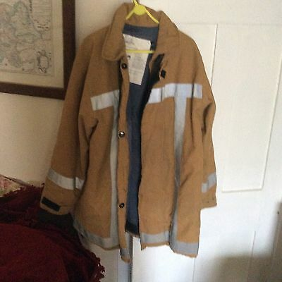 Vintage Shropshire Fire Brigade Protective Firefighters Jacket With Reflectives