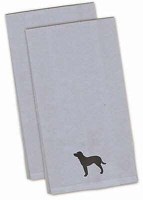 American Water Spaniel Blue Embroidered Kitchen Towel Set of 2