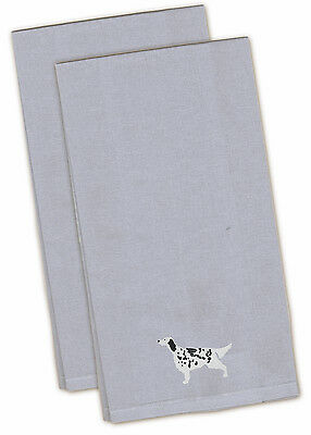 English Setter Blue Embroidered Kitchen Towel Set of 2