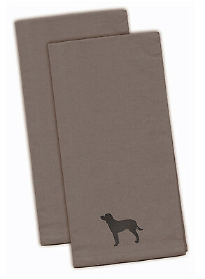 American Water Spaniel Gray Embroidered Kitchen Towel Set of 2