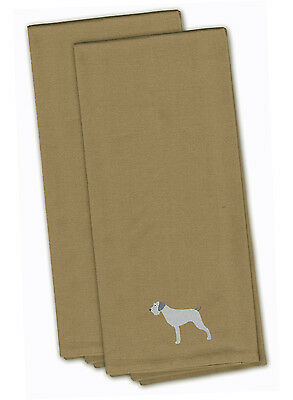 German Wirehaired Pointer Tan Embroidered Kitchen Towel Set of 2
