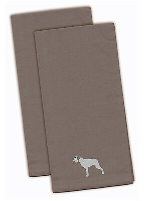 German Wirehaired Pointer Gray Embroidered Kitchen Towel Set of 2