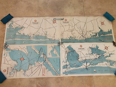 Vintage Fishgide Map Gulf Oil Corp Fishing Matagorda Freeport Galveston Aransas