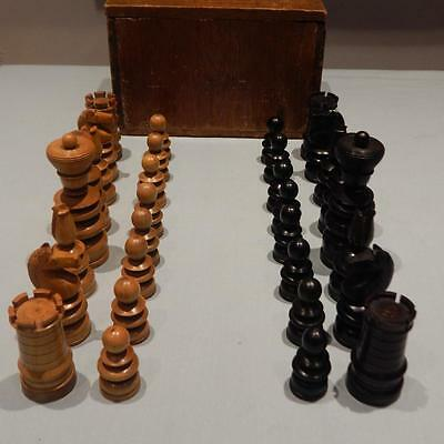 Wooden Turned Chess Set Boxwood and Ebony? Victorian?