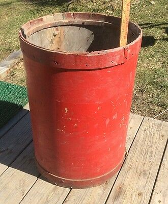 Red Hollow Wood Barrel, Antique , Vintage , Barn , Country Decor , Shabby
