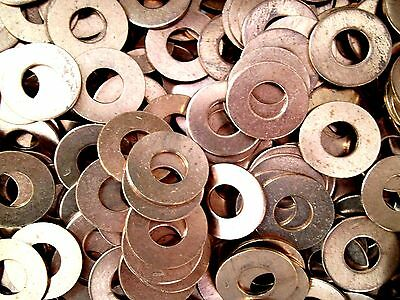 """LOTS OF 5, 10,& 25! SOLID COPPER FLAT WASHERS 3/8"""" ID x 7/8"""" OD x 1/16"""" THICK RC"""