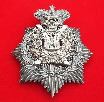 A Victorian Crown, White Metal Helmet Plate, The King's Own Scottish Borderers.