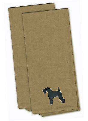 Kerry Blue Terrier Tan Embroidered Kitchen Towel Set of 2