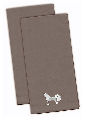 Chinese Crested Gray Embroidered Kitchen Towel Set of 2