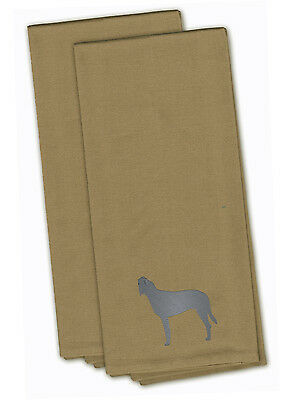 Irish Wolfhound Tan Embroidered Kitchen Towel Set of 2